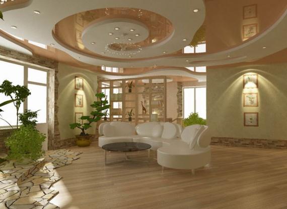 Фигурный потолок из гипсокартона в зале