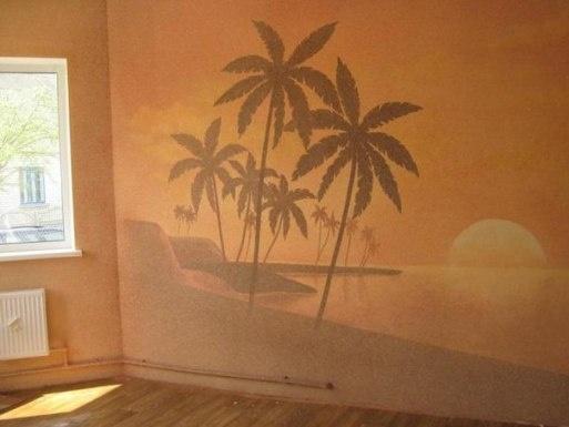 Обои с изображением пляжа с пальмами на закате