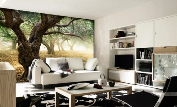 Красивый лес на всю стену в прихожей