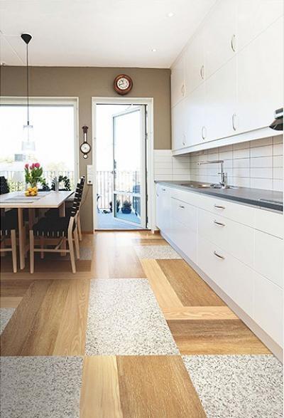 Цвета светло-коричневого дерева и серого гранита на полу в кухне