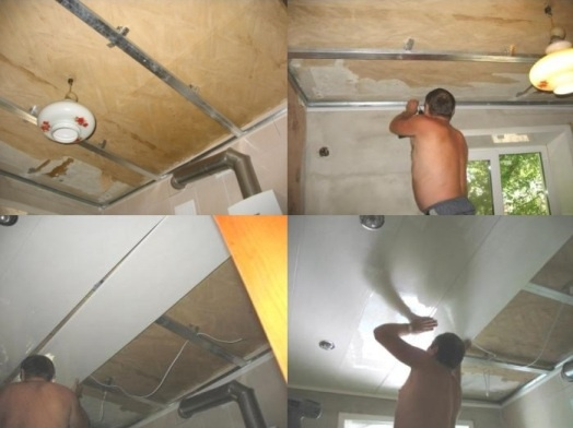 Процесс монтажа потолка