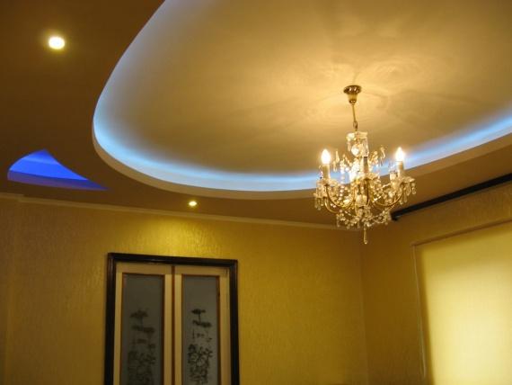 Овальный потолок с люстрой