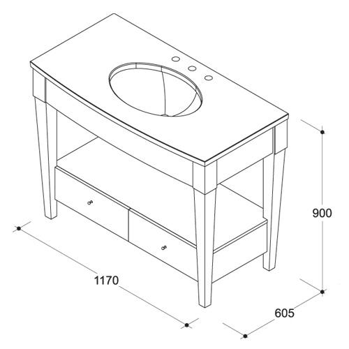 Примерная схема и размеры столешницы