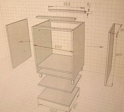 Раскрой кухонной тумбы