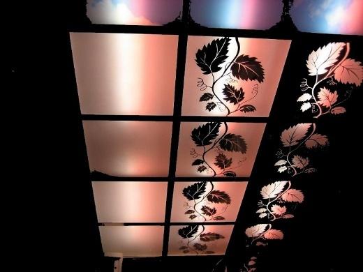 Зеркальные панели на потолке с подсветкой