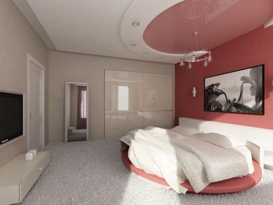 Двухцветный натяжной потолок в спальне
