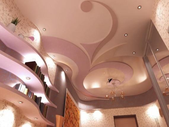 Оригинальная гипсокартонная конструкция на потолке