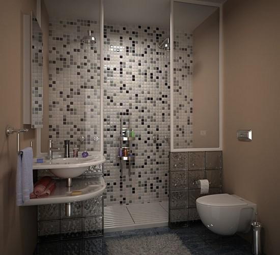 Совмещенная ванная комната оформлена красивой мозаикой