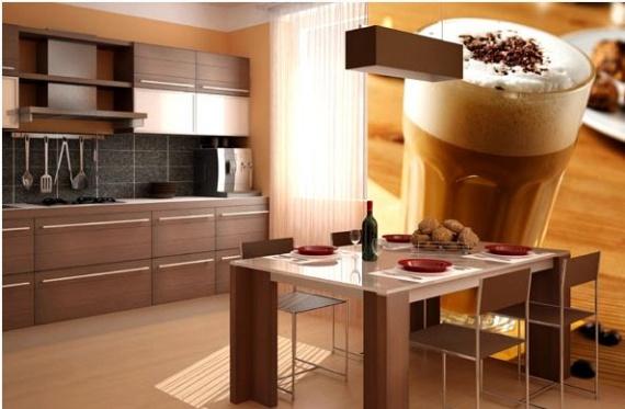 Кофейный сюжет для кухни оформленной в коричневых тонах