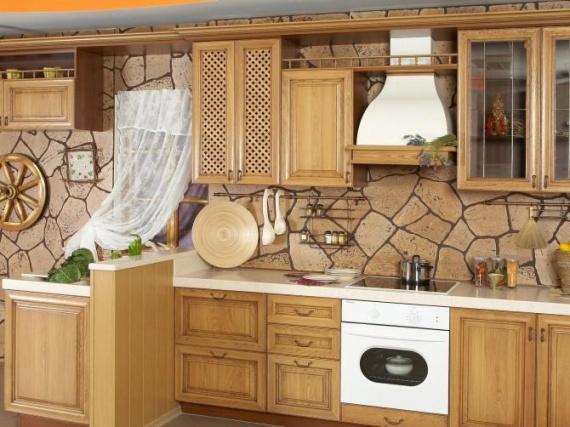 Каменные обои для фартука на кухне