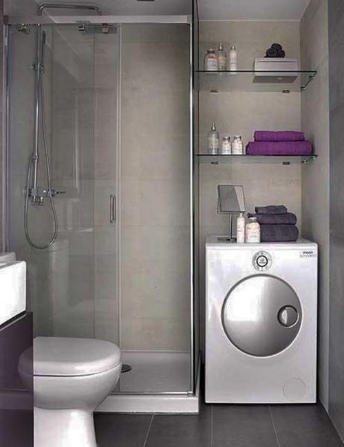Современный интерьер маленькой ванной комнаты
