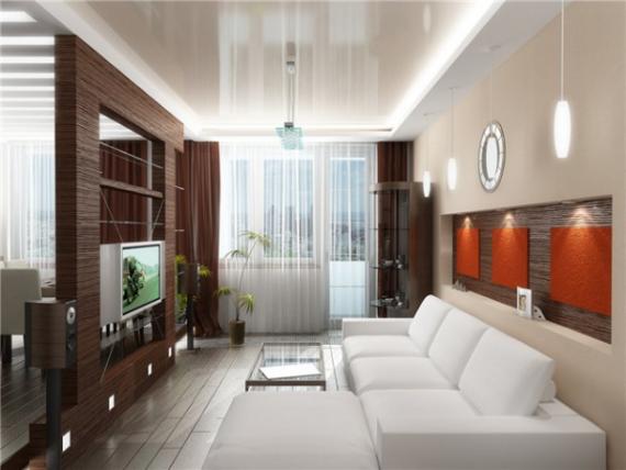 Стильный дизайн маленького зала с перегородкой