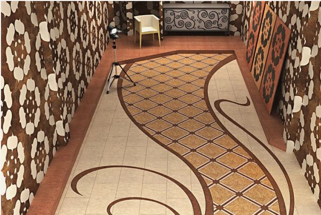 Удачное сочетание узора на полу с обоями на стенах